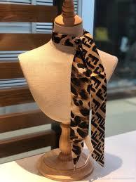 Designer Head Scarf Fashion Ff Designer Brand Silk Scarf Autumn European Leopard Print Small Female Tied Bag Handle Handbag Twill Scarves Ribbons