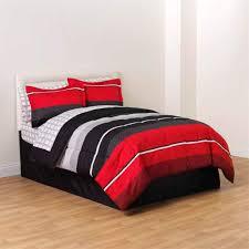 Red Black White Gray Rugby Boys Full Comforter, Skirt and Sheet Bedding Set  (8