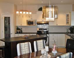 marvelous dining room design with dining set and drum shade chandelier also white kitchen cabinets
