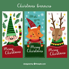 Collection Of Cute Vertical Christmas Banners Vector Free Download