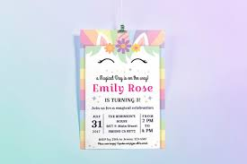 happy unicorn birthday party invitation exle image 1