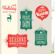 Retro Holidays Christmas Holiday Gift Tags Vintage Typography Design Elements Stock