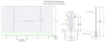 fully frameless glass barade section