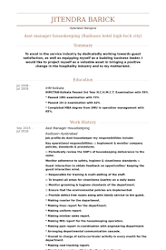 asst manager housekeeping resume samples - Housekeeping Resume Samples