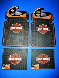 harley davidson area rug logo front rear rubber floor mats 4 set car truck new harley harley davidson area rug