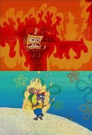 Spongebob Meme On Fire