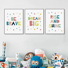 kawaii minimalist colorful dream brave quotes canvas art print poster wall picture no frame kids baby room decor painting in painting calligraphy from  on baby wall art prints with kawaii minimalist colorful dream brave quotes canvas art print