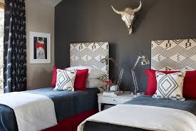 headboard wall in gray becomes the instant focal point in the room design j o