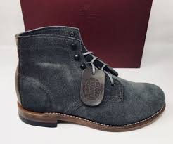 wolverine 1000 mile suede leather lace up boot gray suede brown leather sz 8