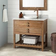 Pine Bathroom Cabinet 36 Benoist Reclaimed Wood Vanity For Semi Recessed Sink Pine