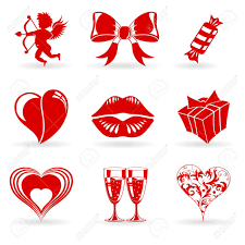 San Valentin Decoration Collect Valentines Day Icons With Hearts Cupid Lips And