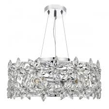 fl chrome and crystal glass ceiling pendant