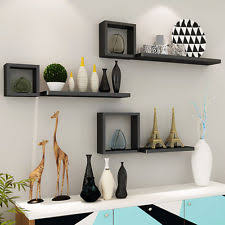 Set Of 6 Floating Wall Mounted Shelves Display Storage Home Decor Black