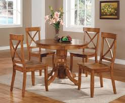 5 piece oak dining set 42 round table 4 chairs kitchen