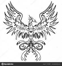 птица феникс графика эскиз чертеж феникс векторное изображение
