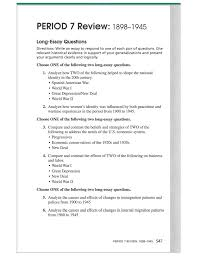 period review long essay questions