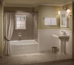 elegant bathroom remodel white bathtub white bathroom fixtures two toned walls light flooring white curtain white towels