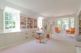 virtual home office. a restrained touch of orange brings brightness to the home office from virtual studio i