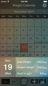 Weight Tracking Calendar Track Daily Goal Weights Apps 148apps