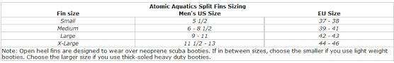 Atomic Fins Size Chart Details About Atomic Aquatics High Performance Split Fins For Scuba Diving
