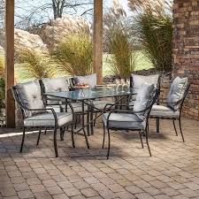 hanover patio furniture. Hanover Outdoor Furniture Lavallette 7-Piece Brown Metal Frame Patio Dining Set With Silver Linings