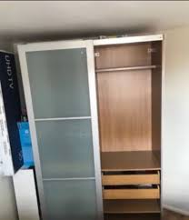 ikea pax with frosted glass sliding door 5 drawers 4 shelves 2 rails