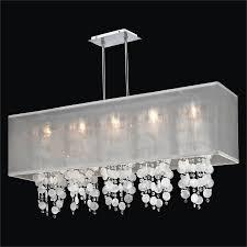 image of rectangular drum shade chandelier hanging