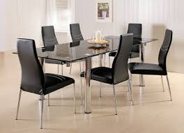 wonderful rectangular black glass dining table set and white wood veneer wall