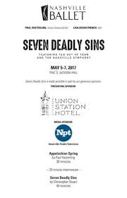 Tpac Johnson Theater Seating Chart Seven Deadly Sins May 5 7 2017 By Nashville Ballet Issuu
