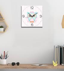 baby owl wall clock in multicolour