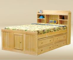 Brown Wooden Full Size Bed Frame With Storage For Kids Bedroom