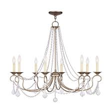 livex lighting pennington 34 in 8 light antique silver leaf vintage candle chandelier