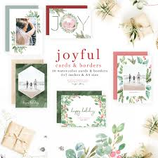 Happy Holiday Card Templates Watercolor Christmas Photo Card Template Holiday Greeting Card Border Backgrounds