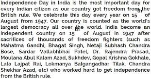 essay on independence day in english for class