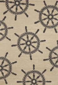 trans ocean frontporch ship wheel black rug 5 x7 6