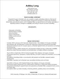 1 Surgery Scheduler Resume Templates Try Them Now Myperfectresume