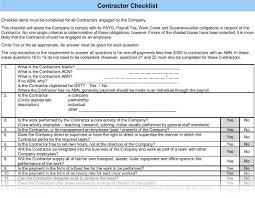 Contractor Checklist Welcome Package Contractor Checklist
