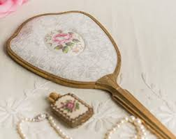 gold hand held mirror. romantic vintage brass hand-held mirror decorated with white lace and pink rose cameo gold hand held s
