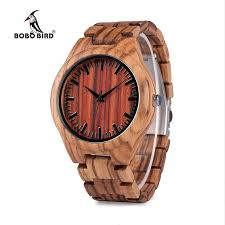 whole bobo bird v k27 zebra wooden wrisch mens brand design red wooden dial quartz watch wood leather strap available in gift box cool watches swiss