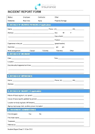 First Aid Incident Report Form Template First Aid Incident Report