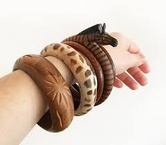 5 hand carved <b>African</b> & Indian <b>wood</b> bangles <b>Bohemian</b> Boho   Etsy