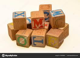 vintage children s alphabet blocks stock photo