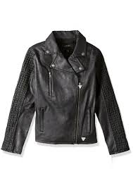 big girls faux leather jacket guess