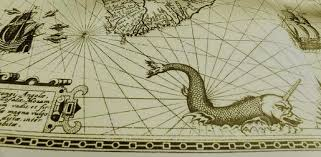 Old Ancient Sea Chart Parlor Of Horror