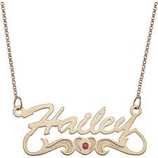 personalized planet jewelry personalized script name with birthstone heart tail 14kt gold plated necklace 18 com