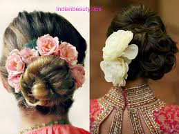 Flower Hair Style indian bridal bun hairstyles with flowers indian beauty tips 2660 by wearticles.com