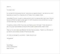 Donor Thank You Letter Sample Donor Thank You Letter 10 Free Sample Example Format Download