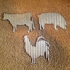3 corrugated tin wall art barnyard farmhouse decor rooster cow pig 24 95 pic
