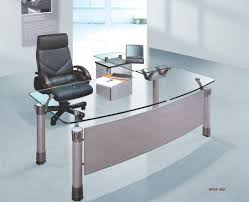 spacious office furniture design with modern desk equipped with glass tops on white doff