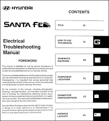 2005 hyundai santa fe electrical troubleshooting manual original this manual covers all 2005 hyundai santa fe models including gls lx this book measures 8 5 x 11 and is 0 5 thick buy now for the best electrical